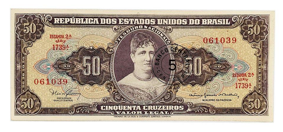 Cédula Antiga do Brasil 5 Centavos 1967 - Carimbo