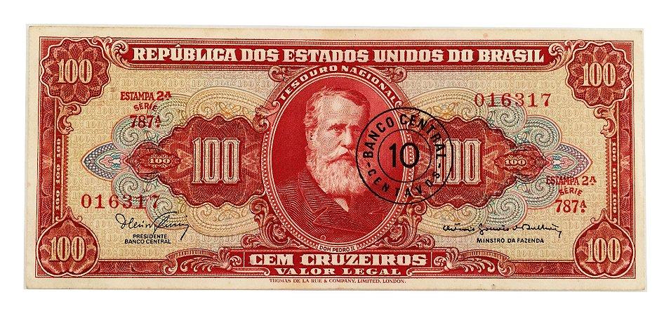 Cédula Antiga do Brasil 10 Centavos 1966 - Carimbo