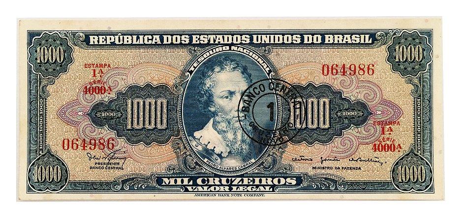 Cédula Antiga do Brasil 1 Cruzeiro Novo 1967 - Carimbo