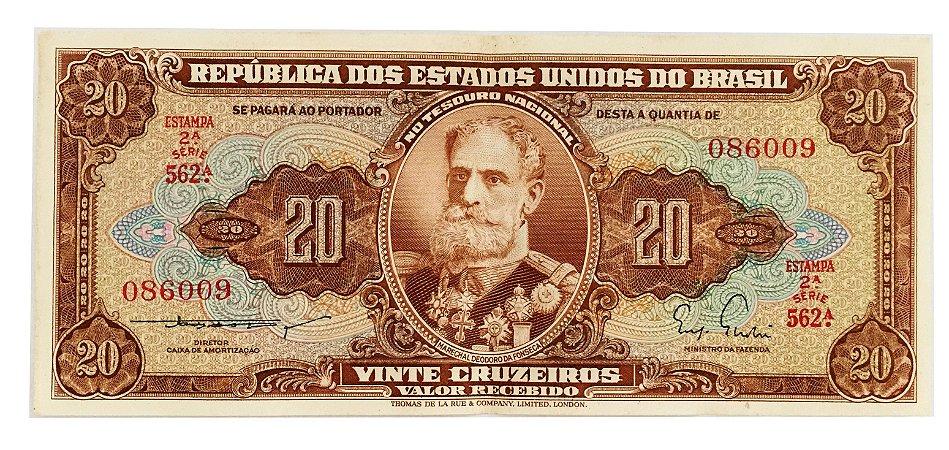 Cédula Antiga do Brasil 20 Cruzeiros 1955