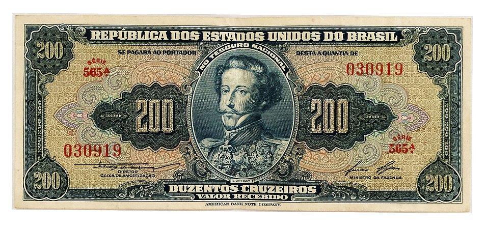 Cédula Antiga do Brasil 200 Cruzeiros 1958
