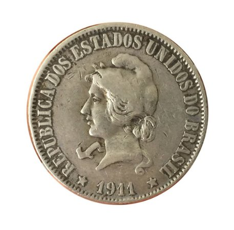 Moeda Antiga do Brasil 2000 Réis 1911