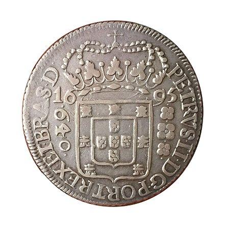 Moeda Antiga do Brasil 640 Réis 1695 - Coroa Larga