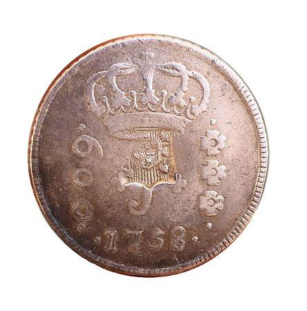 Moeda Antiga do Brasil 600 Réis 1758 R - SÉRIE J - COM CARIMBO DE ESCUDETE