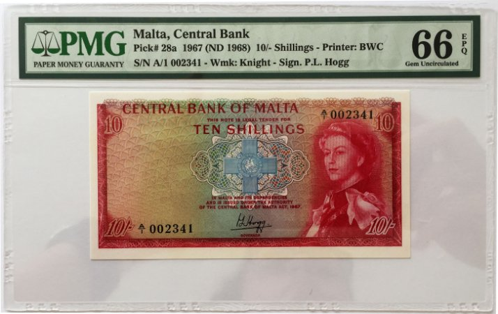 Cédula Antiga de Malta 10 Shillings 1967 (ND 1968) - Certificada pela PMG