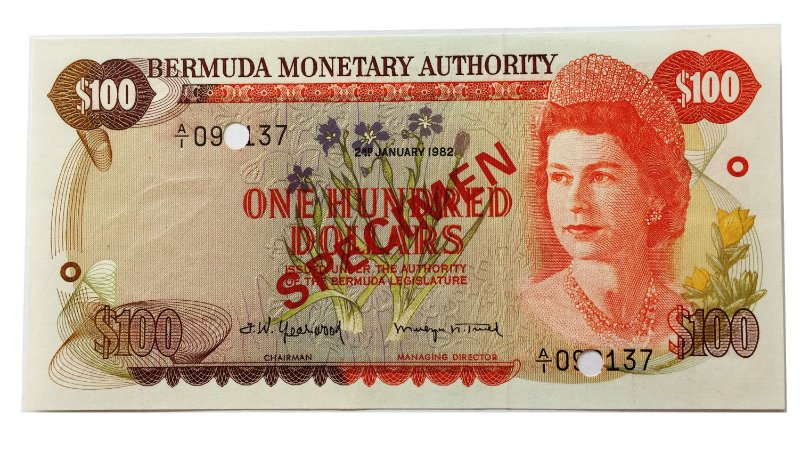 Cédula Antiga da Bermuda 100 Dollars 1982 - Specimen