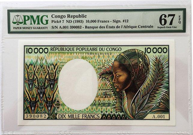 Cédula Antiga do Congo 10 000 Francs ND (1983) - Certificada pela PMG