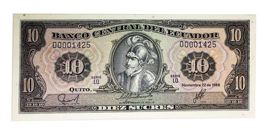 Cédula Antiga do Equador 10 Sucres 1988