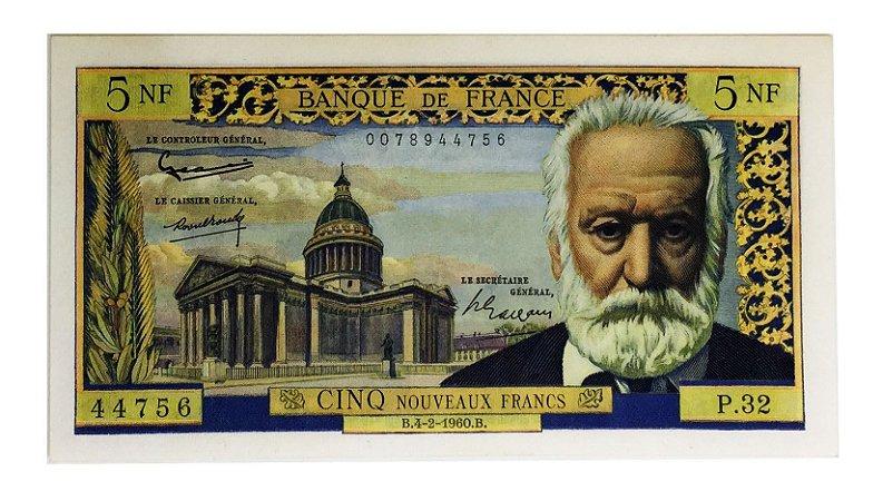 Cédula Antiga da França 5 Nouveaux Francs 1960