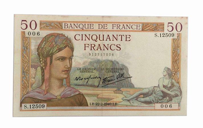 Cédula Antiga da França 50 Francs 1940