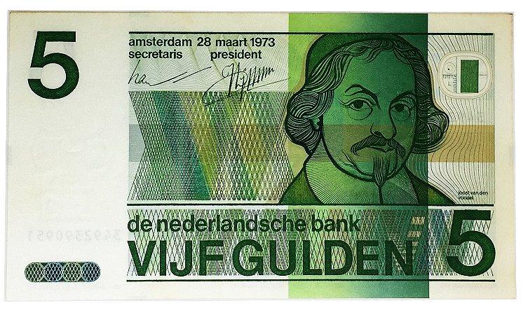 Cédula Antiga da Holanda 5 Gulden 1973