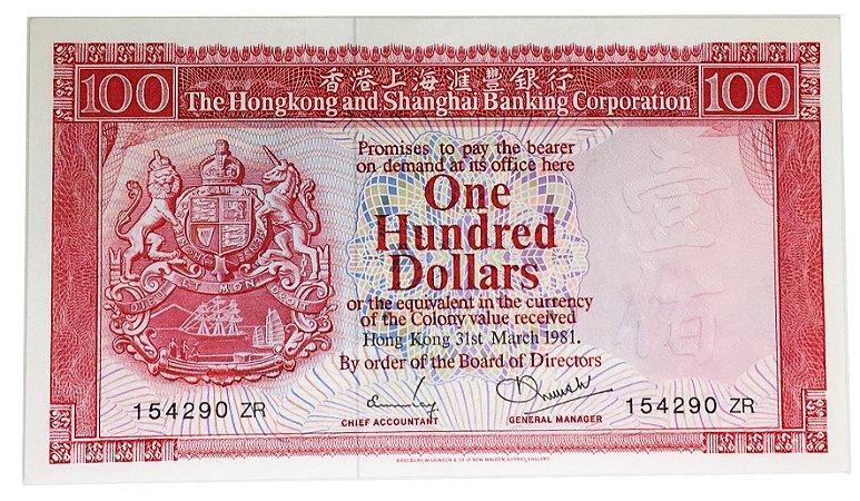 Cédula Antiga de HongKong $100 1981