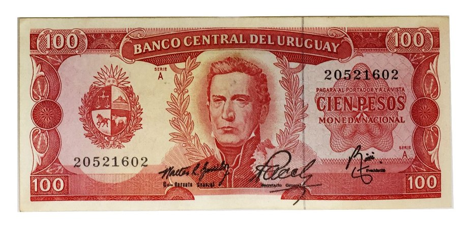 Cédula Antiga do Uruguai 100 Pesos 1967