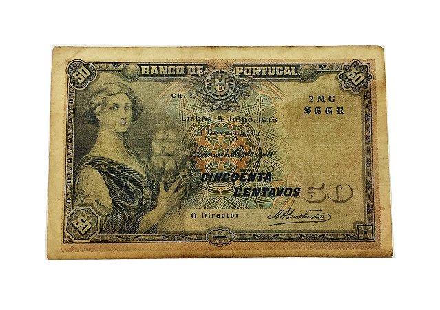 Cédula Antiga de Portugal 50 Centavos 1918
