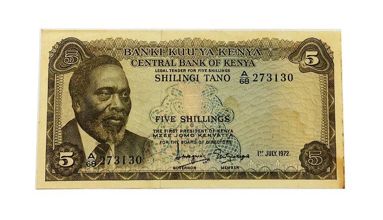 Cédula Antiga de Quênia 5 Shillings 1972