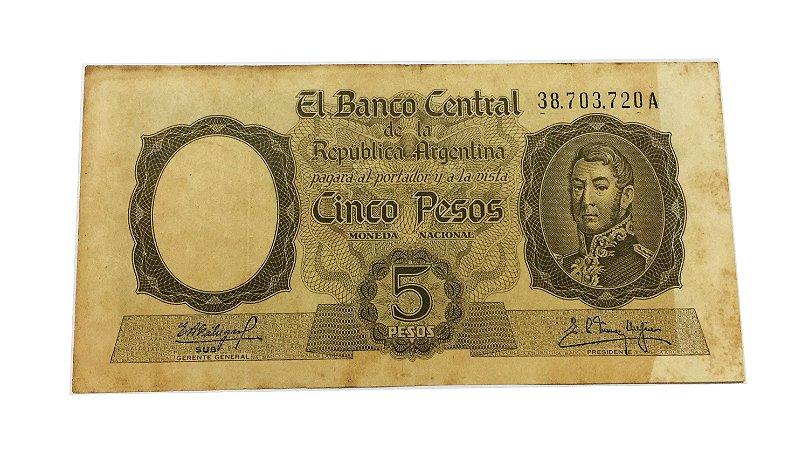 Cédula Antiga da Argentina 5 Pesos ND(1960-62)