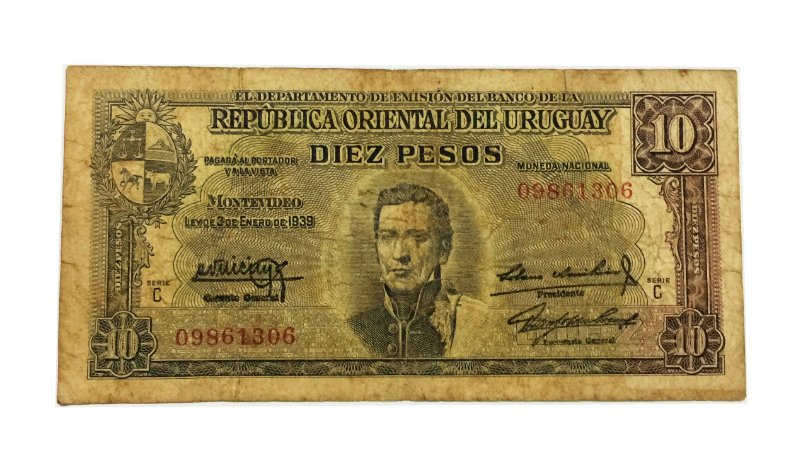 Cédula Antiga do Uruguai 10 Pesos 1939