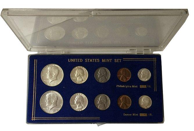 Conjunto de Moedas Antigas dos Estados Unidos com Série Completa de 1964 - Filadélfia e Denver
