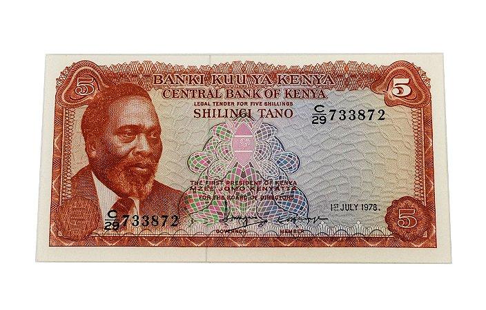 Cédula Antiga de Quênia 5 Shillings 1978