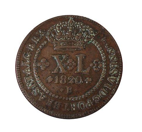 Moeda Antiga do Brasil XL Réis 1820R