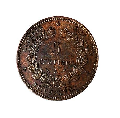 Moeda Antiga da França 5 Centimes 1897 A