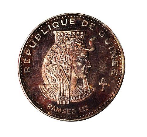 Moeda Antiga de Guinea 500 Francs 1970 - Ramsés III