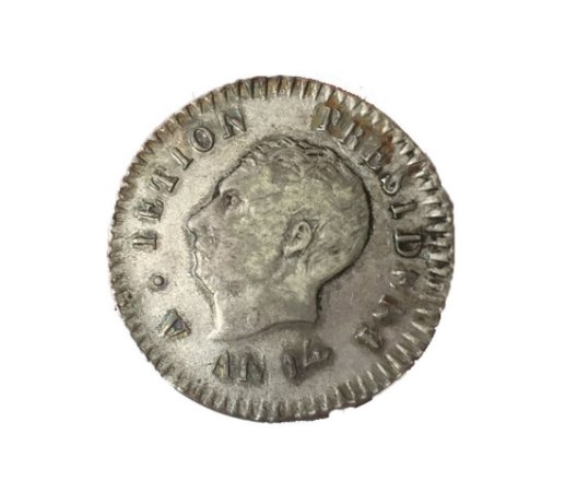 Moeda Antiga do Haiti 25 Centimes 1817 AN14 -  Data Única