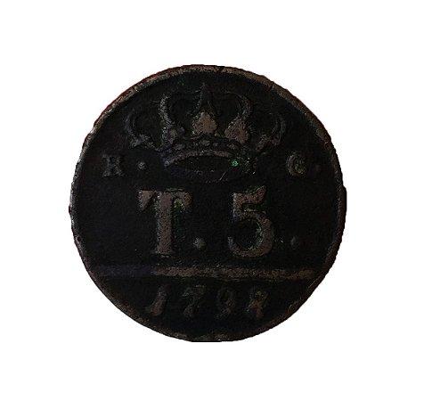 Moeda Antiga da Itália 5 Tornesi 1798