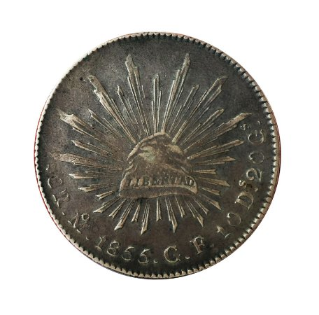 Moeda Antiga do México 8 Reales 1855