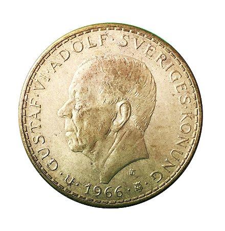 Moeda Antiga da Suécia 5 Kronor 1966 U