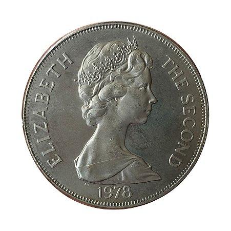 Moeda Antiga de Tristan da Cunha One Crown 1978 PM