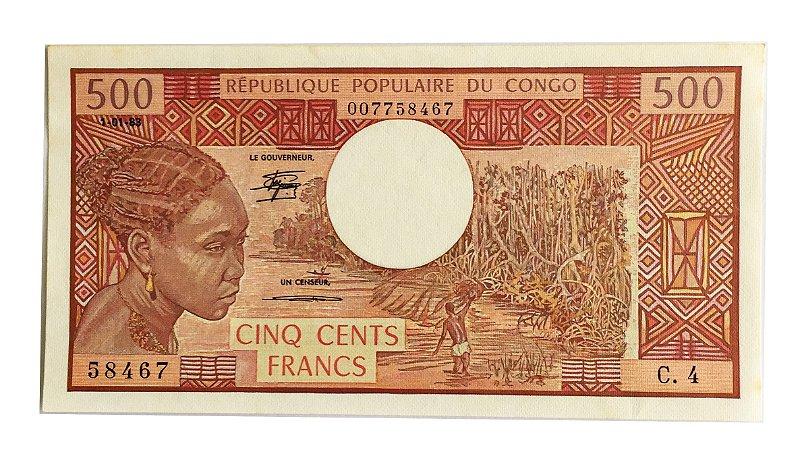 Cédula Antiga do Congo 500 Francs 1983