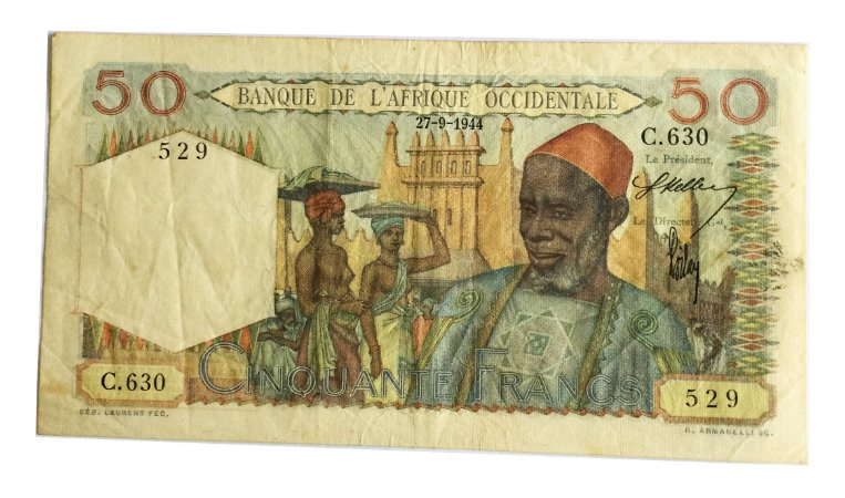 Cédula Antiga da África Ocidental Francesa 50 Francs 1944