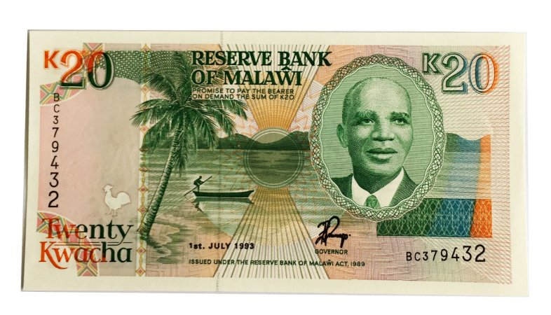 Cédula Antiga de Malawi 20 Kwacha 1993