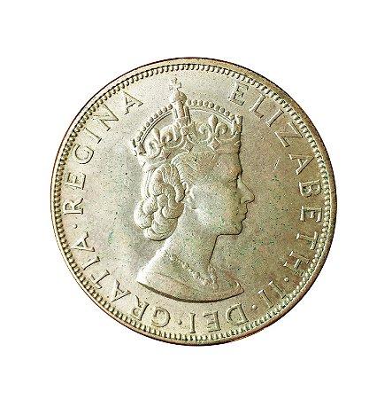 Moeda Antiga da Bermuda One Crown 1964