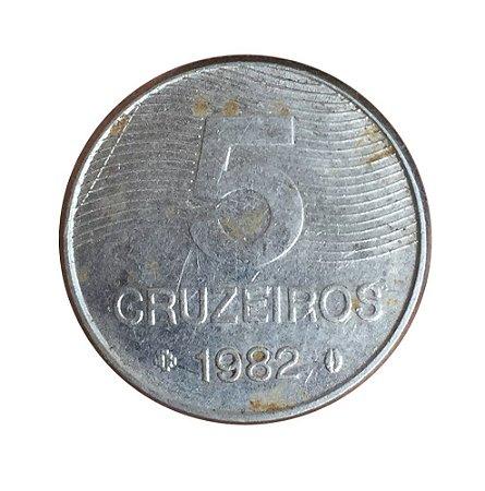 Moeda Antiga do Brasil 5 Cruzeiros 1982 - FAO - Café