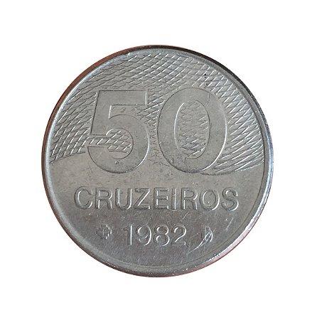 Moeda Antiga do Brasil 50 Cruzeiros 1982 - Plano Piloto de Brasília