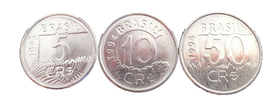 Moedas Antigas do Brasil 5, 10 e 50 Cruzeiros Reais 1994