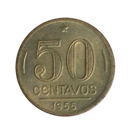 Moeda Antiga do Brasil 50 Centavos de Cruzeiro 1955 - Presidente Dutra