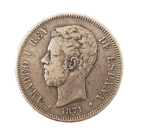 Moeda Antiga da Espanha 5 Pesetas 1871 (71) SD-M