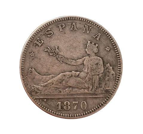 Moeda Antiga da Espanha 2 Pesetas 1870 (74) DE-M