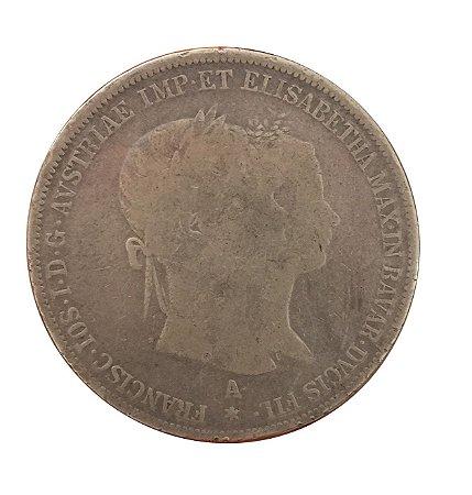 Moeda Antiga da Áustria 2 Gulden 1854