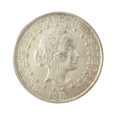 Moeda Antiga do Brasil 2000 Réis 1912 - Estrelas Ligadas