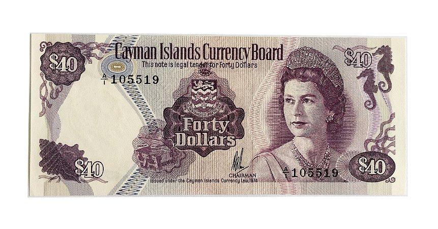 Cédula Antiga das Ilhas Cayman $40 1974 (1981)