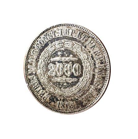 Moeda Antiga do Brasil 2000 Réis 1865