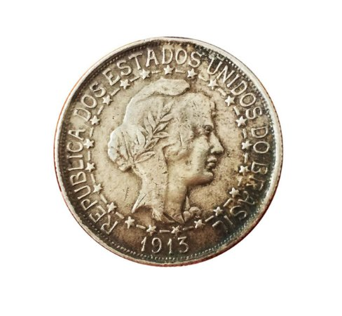 Moeda Antiga do Brasil 1000 Réis 1913 - Estrelas Ligadas
