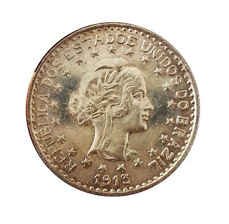Moeda Antiga do Brasil 1000 Réis 1913 - Estrelas Soltas
