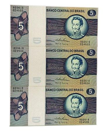 03 Cédulas Antigas do Brasil 5 Cruzeiros 1974