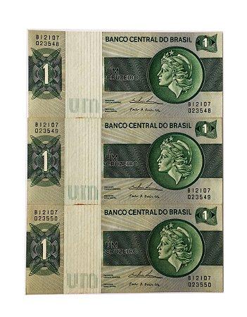 03 Cédulas Antigas do Brasil 1 Cruzeiro 1975 sequenciadas