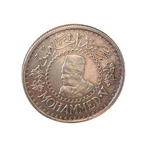 Moeda Antiga do Marrocos 500 Francs AH1376 (1956)